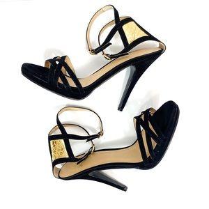 COLIN STUART Black Gold Velvet Strappy Heels 9